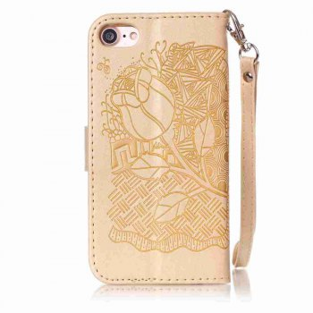 Double Embossed Rich Flowers PU TPU Phone Case for  iPhone 7 / 8 - DAISY