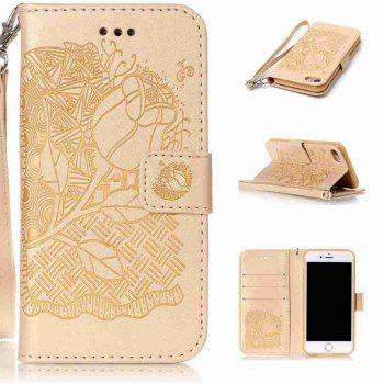 Double Embossed Rich Flowers PU TPU Phone Case for  iPhone 7 / 8 - DAISY DAISY