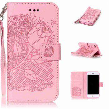 Double Embossed Rich Flowers PU TPU Phone Case for  iPhone 7 / 8 - PINK PINK