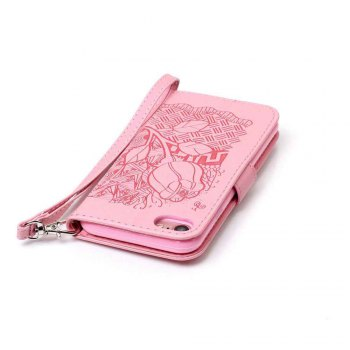 Double Embossed Rich Flowers PU TPU Phone Case for  iPhone 7 / 8 -  PINK