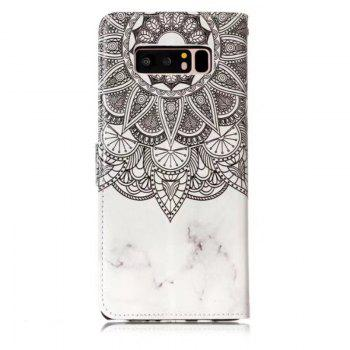 Wkae Glossy Embossed Leather Case Cover for Samsung Galaxy NOTE 8 - WHITE / GREY