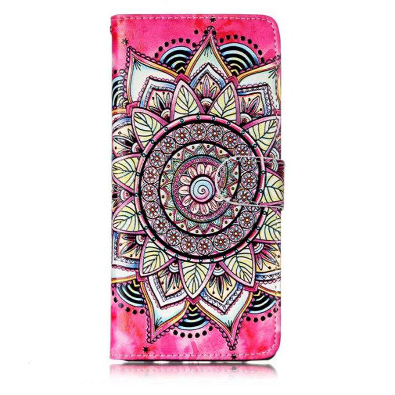 Wkae Glossy Embossed Leather Case Cover for Samsung Galaxy NOTE 8 - ROSE / WHITE
