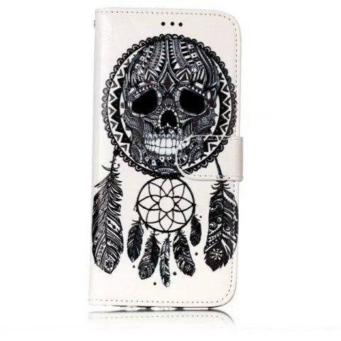 Wkae Glossy Embossed Leather Case Cover for Samsung Galaxy S7 EDGE - WHITE/BLACK