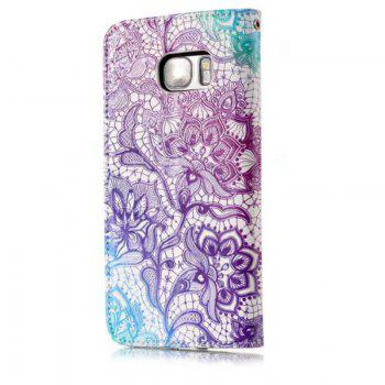 Wkae Glossy Embossed Leather Case Cover for Samsung Galaxy S7 EDGE - PURPLE