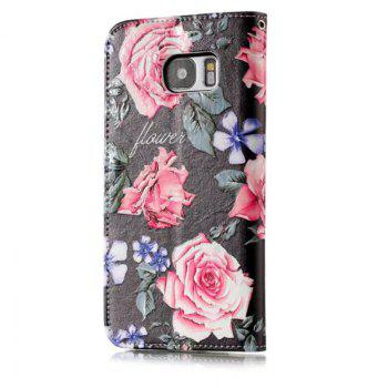 Wkae Glossy Embossed Leather Case Cover for Samsung Galaxy S7 EDGE - BLACK / ROSE