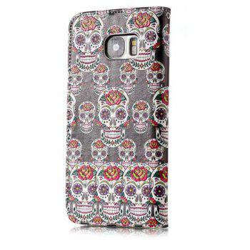 Wkae Glossy Embossed Leather Case Cover for Samsung Galaxy S7 EDGE - BLACK/WHITE/PURPLE