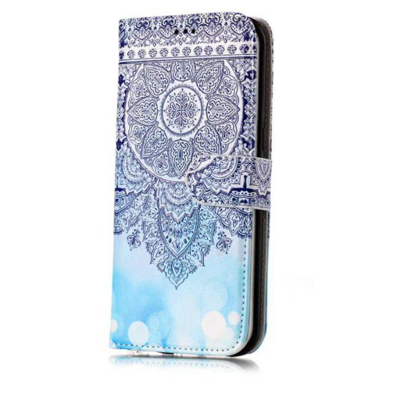 Wkae Glossy Embossed Leather Case Cover for Samsung Galaxy S7 EDGE - DEEP BLUE