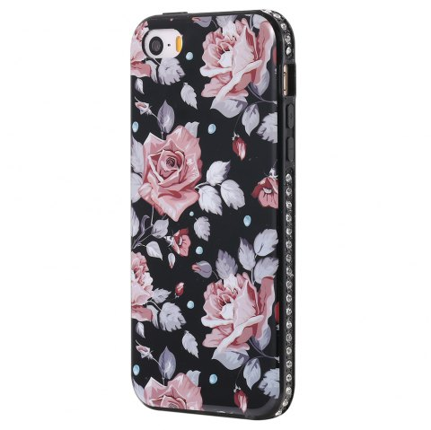 Wkae Porcelain Flower Mobile Phone Shell Surrounded By Rhinestone for IPhone 5 / 5S / SE - PINK