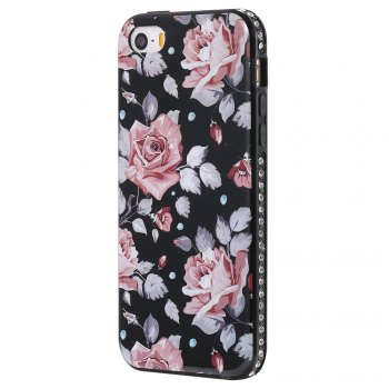 Wkae Porcelain Flower Mobile Phone Shell Surrounded By Rhinestone for IPhone 5 / 5S / SE - PINK PINK