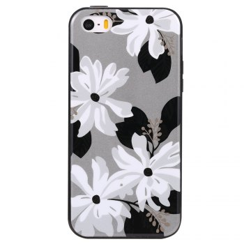 Wkae Porcelain Flower Mobile Phone Shell Surrounded By Rhinestone for IPhone 5 / 5S / SE -  WHITE / GREY