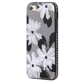 Wkae Porcelain Flower Mobile Phone Shell Surrounded By Rhinestone for IPhone 5 / 5S / SE - WHITE + GREY WHITE / GREY