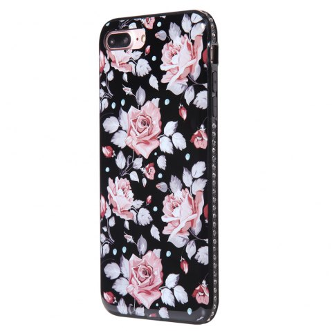 Wkae Porcelain Flower Mobile Phone Shell Surrounded By Rhinestone for IPhone 7 Plus / 8 Plus - PINK