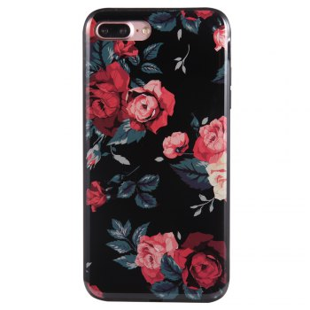 Wkae Porcelain Flower Mobile Phone Shell Surrounded By Rhinestone for IPhone 7 Plus / 8 Plus -  BLACK/RED