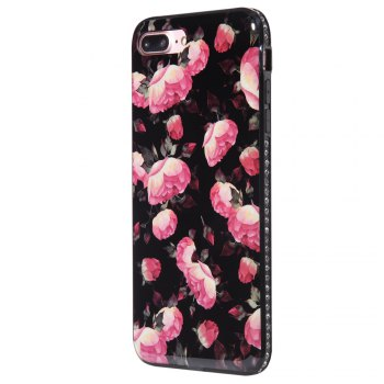 Wkae Porcelain Flower Mobile Phone Shell Surrounded By Rhinestone for IPhone 7 Plus / 8 Plus - BLACK AND ROSE RED BLACK/ROSE RED