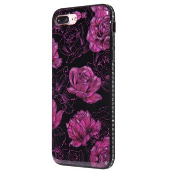 Wkae Porcelain Flower Mobile Phone Shell Surrounded By Rhinestone for IPhone 7 Plus / 8 Plus - BLACK AND PURPLE BLACK/PURPLE