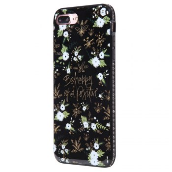 Wkae Porcelain Flower Mobile Phone Shell Surrounded By Rhinestone for IPhone 7 Plus / 8 Plus - WHITE AND BLACK WHITE/BLACK