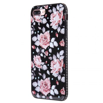 Wkae Porcelain Flower Mobile Phone Shell Surrounded By Rhinestone for IPhone 7 Plus / 8 Plus - PINK PINK