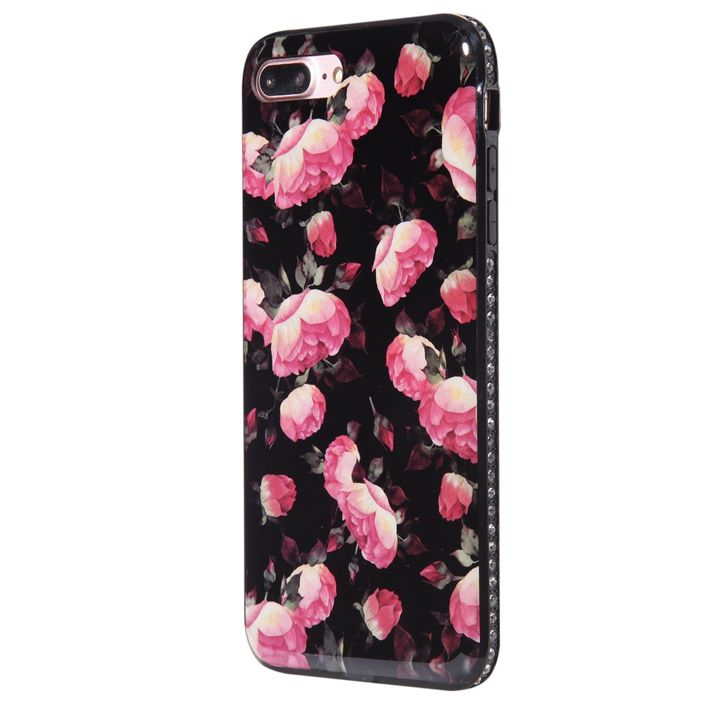 Wkae Porcelain Flower Mobile Phone Shell Surrounded By Rhinestone for IPhone 7 Plus / 8 Plus - BLACK/ROSE RED