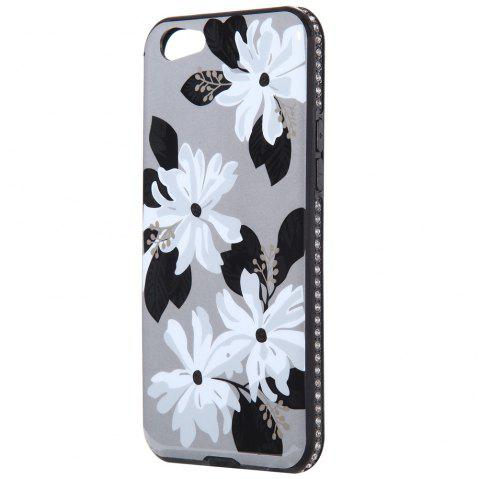 Wkae Porcelain Flower Mobile Phone Shell Surrounded By Rhinestone for OPPO A39 - WHITE / GREY
