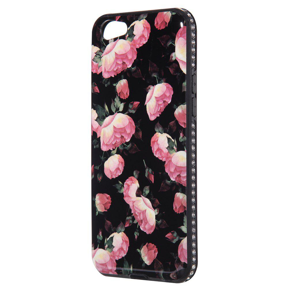 Wkae Porcelain Flower Mobile Phone Shell Surrounded By Rhinestone for OPPO A39 - BLACK/ROSE RED
