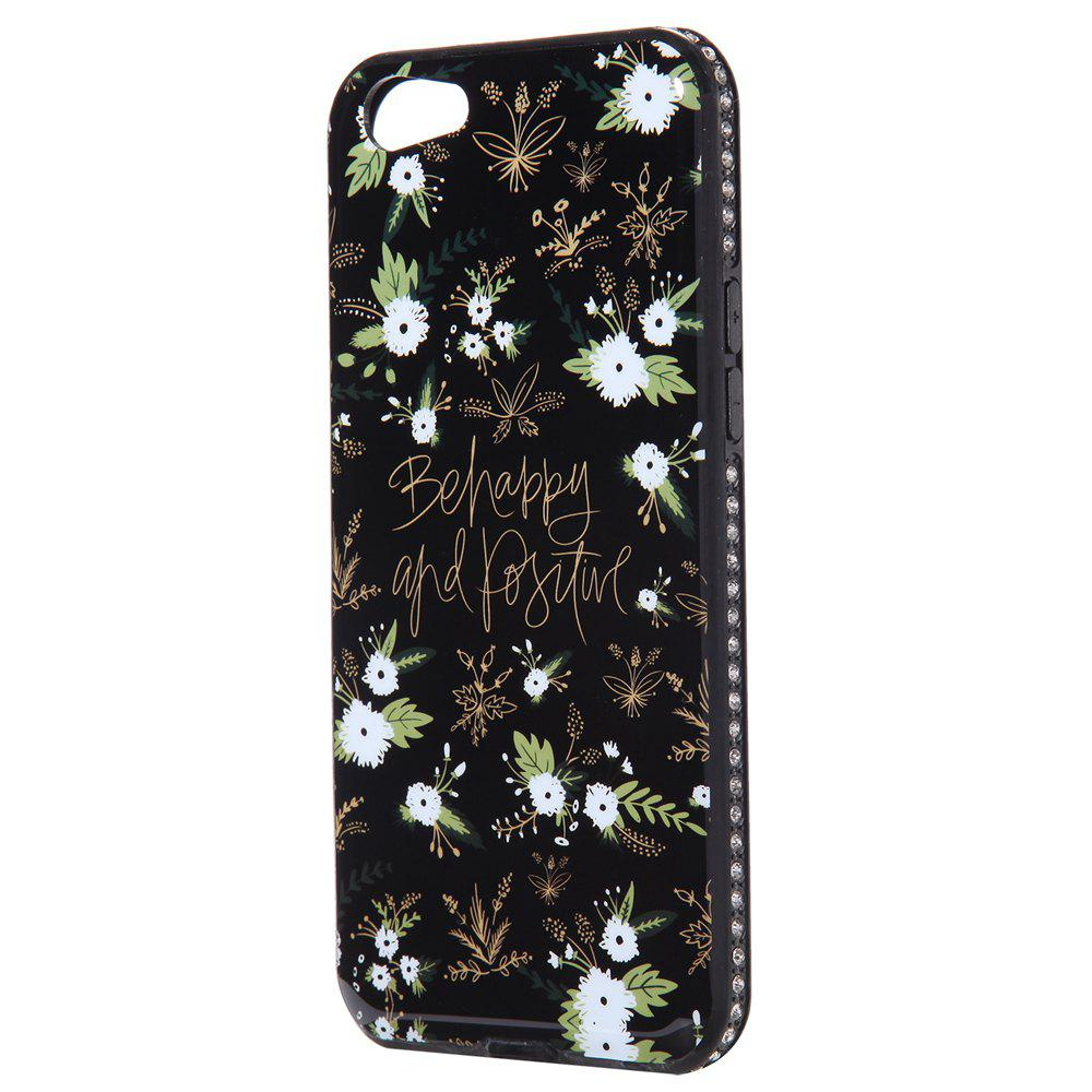 Wkae Porcelain Flower Mobile Phone Shell Surrounded By Rhinestone for OPPO A39 - WHITE/BLACK