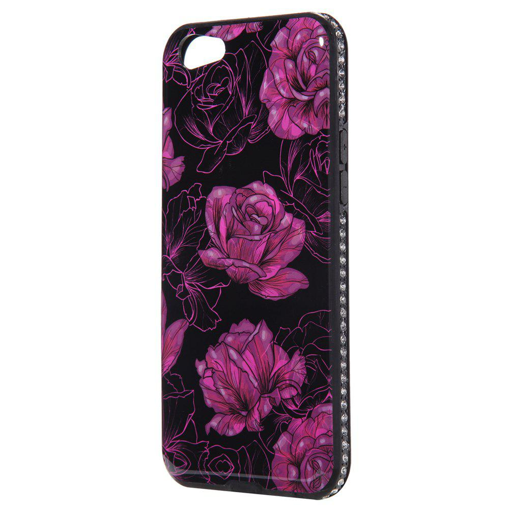 Wkae Porcelain Flower Mobile Phone Shell Surrounded By Rhinestone for OPPO A39 - BLACK/PURPLE