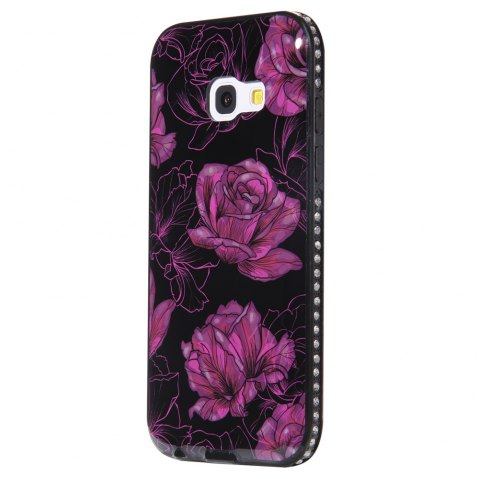 Wkae Porcelain Flower Mobile Phone Shell Surrounded By Rhinestone for Samsung Galaxy A3 2017 - BLACK/PURPLE
