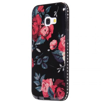 Wkae Porcelain Flower Mobile Phone Shell Surrounded By Rhinestone for Samsung Galaxy A3 2017 - BLACK AND RED BLACK/RED