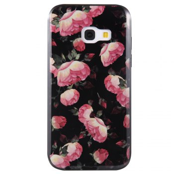 Wkae Porcelain Flower Mobile Phone Shell Surrounded By Rhinestone for Samsung Galaxy A3 2017 -  BLACK/ROSE RED