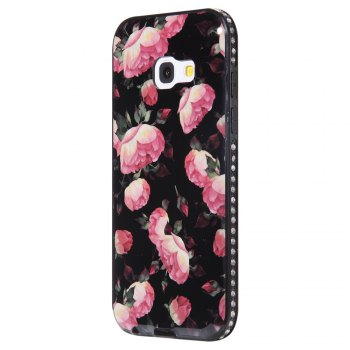 Wkae Porcelain Flower Mobile Phone Shell Surrounded By Rhinestone for Samsung Galaxy A3 2017 - BLACK AND ROSE RED BLACK/ROSE RED
