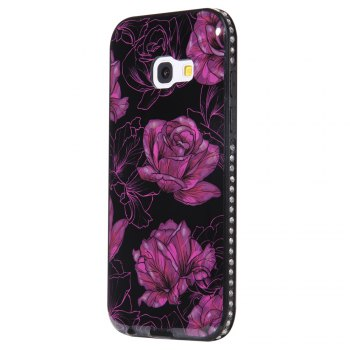 Wkae Porcelain Flower Mobile Phone Shell Surrounded By Rhinestone for Samsung Galaxy A3 2017 - BLACK AND PURPLE BLACK/PURPLE