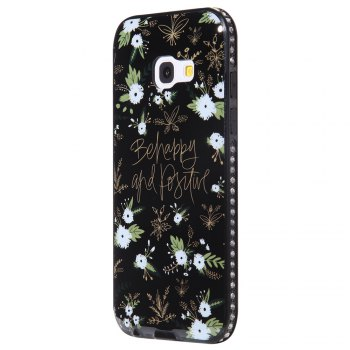 Wkae Porcelain Flower Mobile Phone Shell Surrounded By Rhinestone for Samsung Galaxy A3 2017 - WHITE AND BLACK WHITE/BLACK