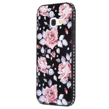 Wkae Porcelain Flower Mobile Phone Shell Surrounded By Rhinestone for Samsung Galaxy A3 2017 - PINK PINK