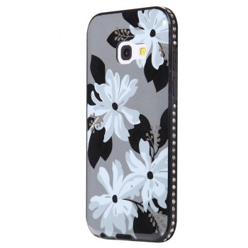 Wkae Porcelain Flower Mobile Phone Shell Surrounded By Rhinestone for Samsung Galaxy A3 2017 - WHITE + GREY WHITE / GREY