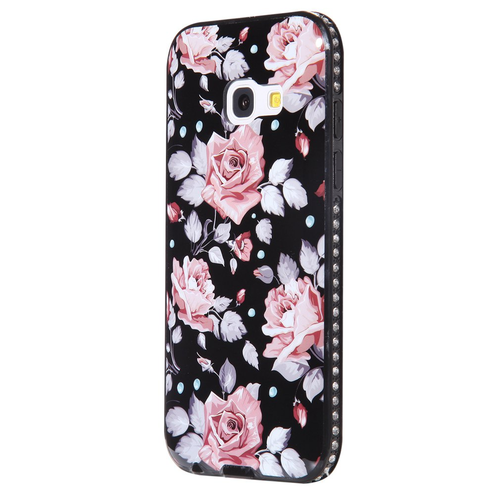 Wkae Porcelain Flower Mobile Phone Shell Surrounded By Rhinestone for Samsung Galaxy A3 2017 - PINK