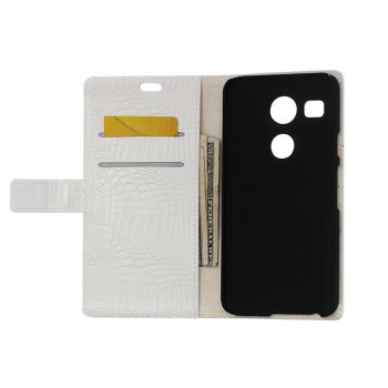 KaZiNe Crocodile Texture Wallet Stand Leather Cover For  LG NEXUS 5X -  WHITE