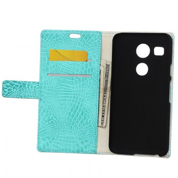 KaZiNe Crocodile Texture Wallet Stand Leather Cover For  LG NEXUS 5X -  GREEN