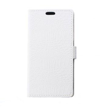 KaZiNe Crocodile Texture Wallet Stand Leather Cover For  LG K10 - WHITE WHITE