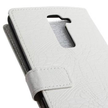 KaZiNe Crocodile Texture Wallet Stand Leather Cover For  LG K10 -  WHITE