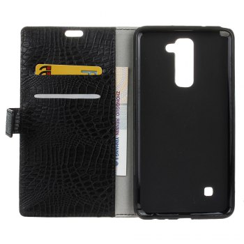 KaZiNe Crocodile Texture Wallet Stand Leather Cover For  LG K10 -  BLACK