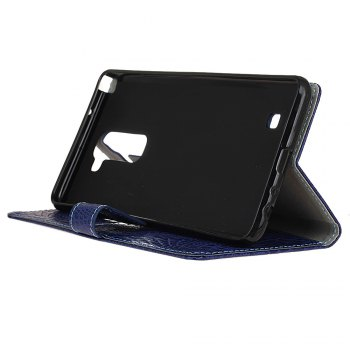 KaZiNe Crocodile Texture Wallet Stand Leather Cover For  LG K10 -  BLUE