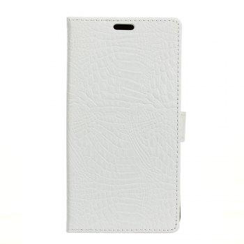 KaZiNe Crocodile Texture Wallet Stand Leather Cover For LG U/F820L - WHITE WHITE
