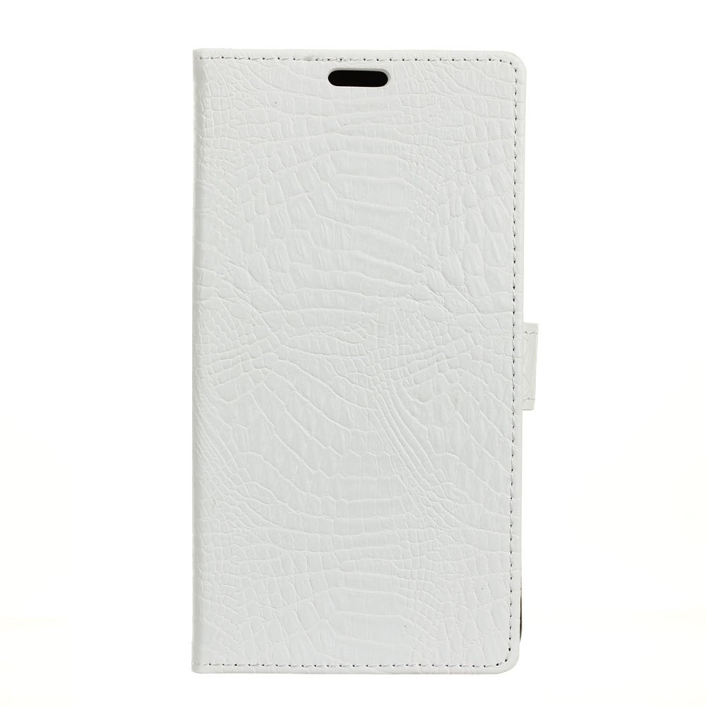 KaZiNe Crocodile Texture Wallet Stand Leather Cover For LG U/F820L - WHITE