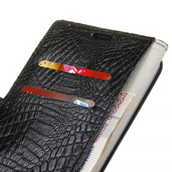 KaZiNe Crocodile Texture Wallet Stand Leather Cover For LG V9 -  BLACK