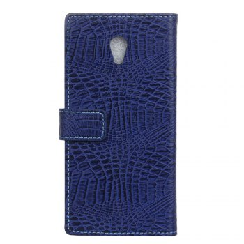 KaZiNe Crocodile Texture Wallet Stand Leather Cover For WIKO S K00L -  BLUE
