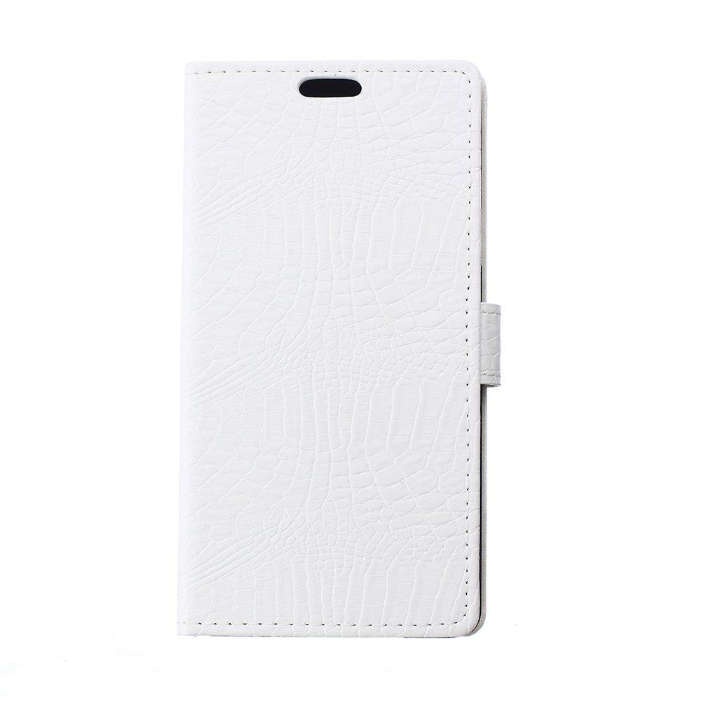 KaZiNe Crocodile Texture Wallet Stand Leather Cover For WIKO S K00L - WHITE