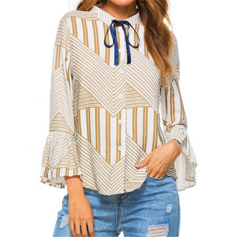 New Autumn Winter Plaid Contrast Color Flare Sleeve Shirt - AS THE PICTURE 2XL