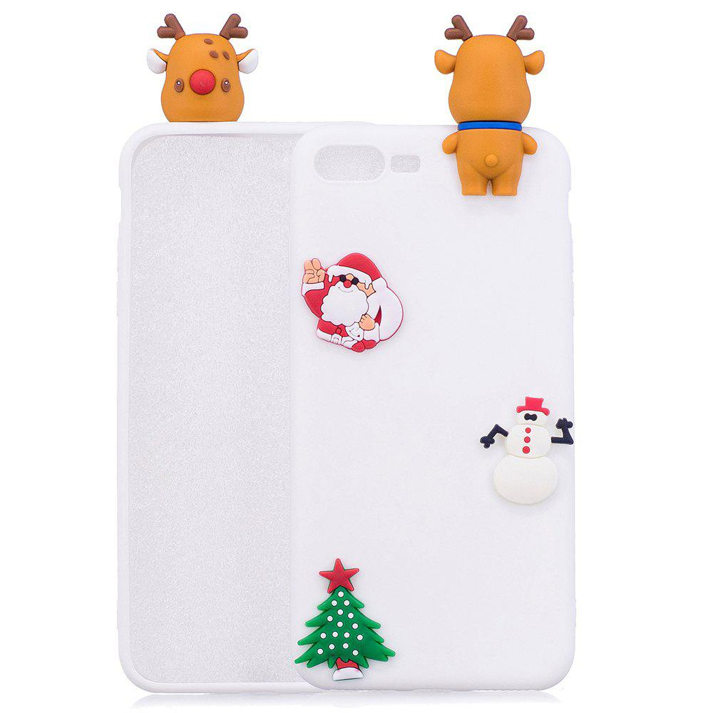 Christmas Tree Santa Claus Reindeer 3D Cartoon Animals Soft Silicone TPU Case for iPhone 7 Plus / 8 Plus - WHITE