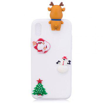 Christmas Tree Santa Claus Reindeer 3D Cartoon Animals Soft Silicone TPU Case for iPhone X - WHITE