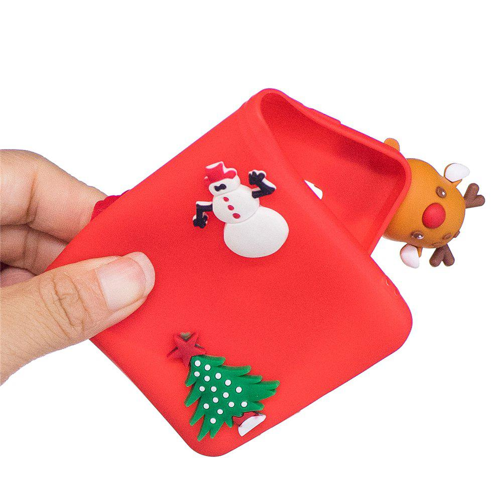 Christmas Tree Santa Claus Reindeer 3D Cartoon Animals Soft Silicone TPU Case for iPhone X - RED